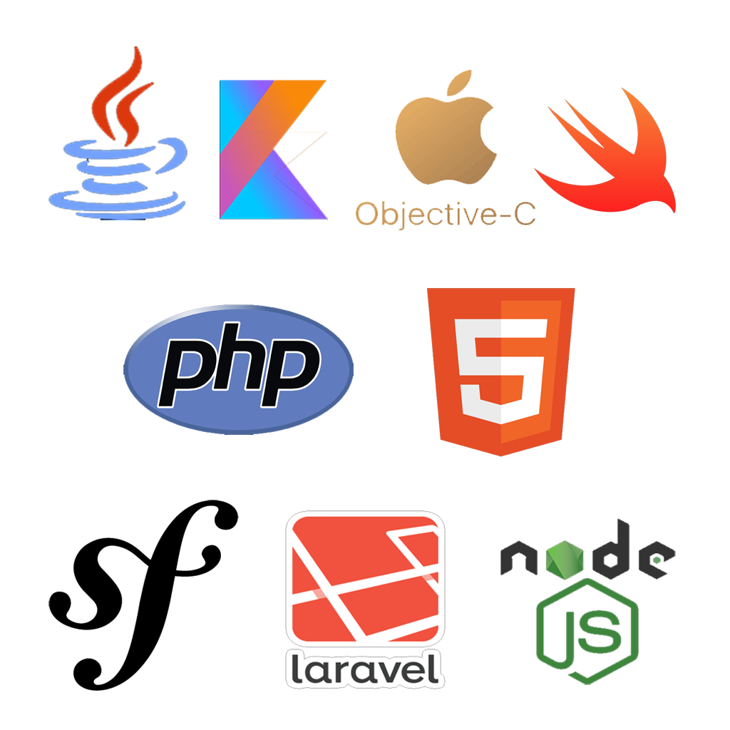 html-php-android-ios-javascript-kothlin-objectivec-swift-symfony-laravel-nodejs