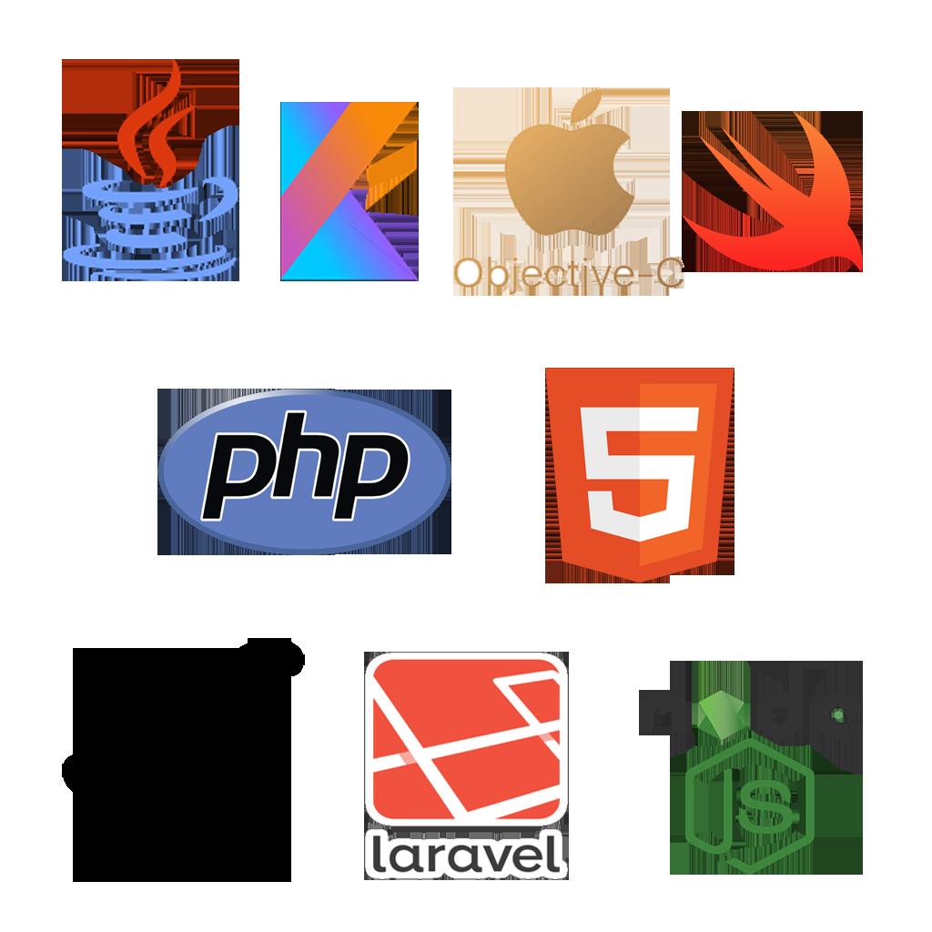 html-php-android-ios-javascript-kothlin-objectivec-swift-symfony-laravel-nodejs